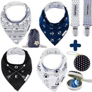Baby bandana bibs with a pacifier clip